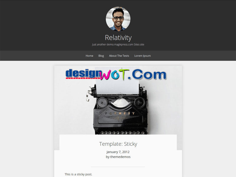 Relativity One Column WordPress Theme for Personal Blogs