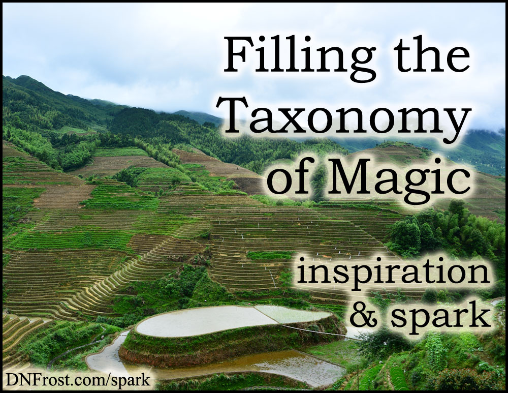 Filling the Taxonomy of Magic: using the structure to develop content www.DNFrost.com/spark #TotKW Inspiration and spark by D.N.Frost @DNFrost13 Part 3 of a series.
