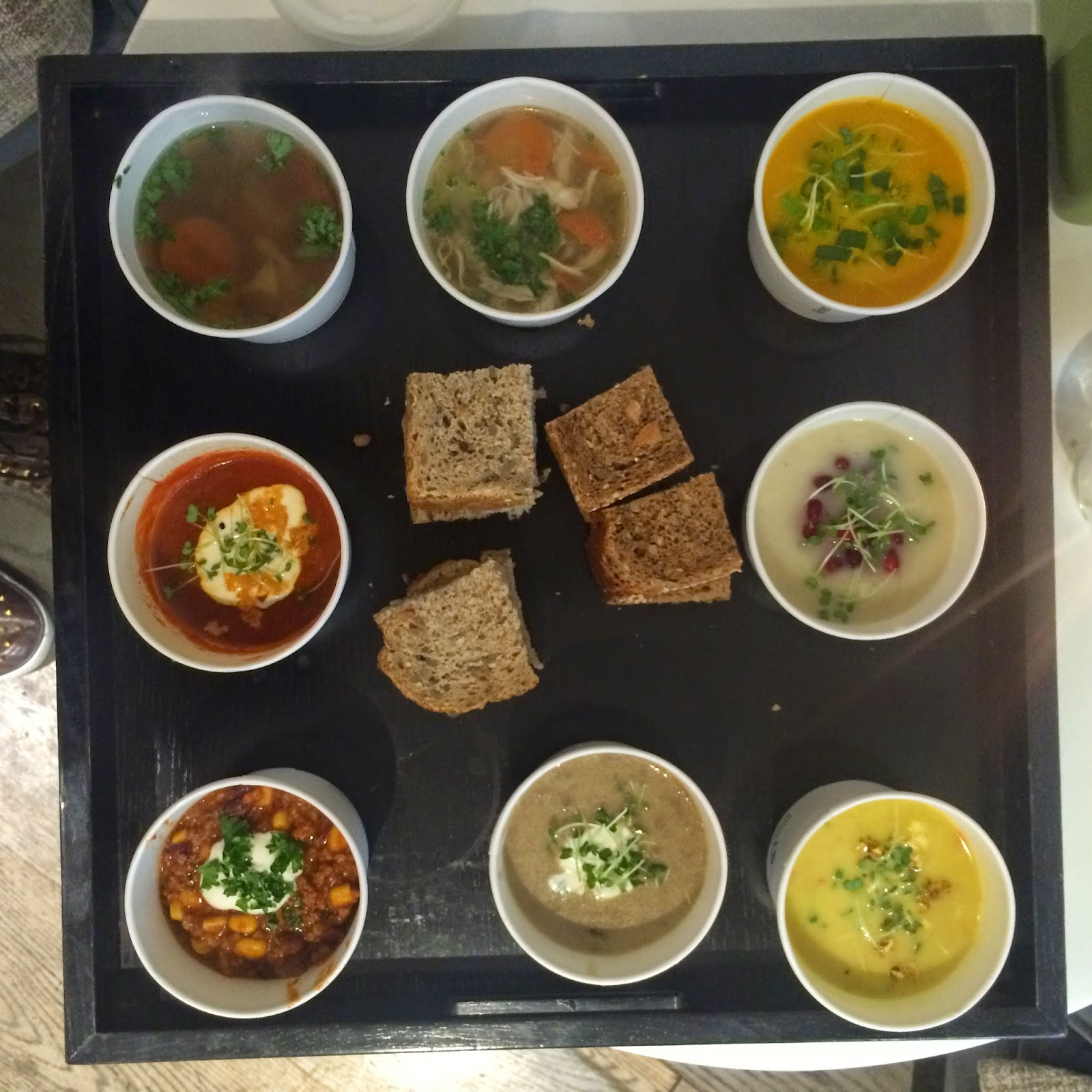 tray of soups