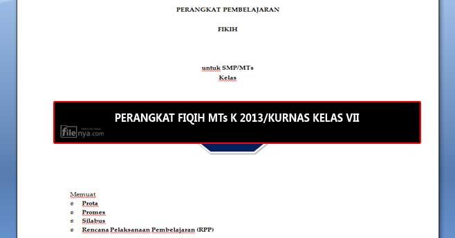 RPP FIQIH MTs Kurikulum 2013-Kurikulum Nasional Kelas VII/7
