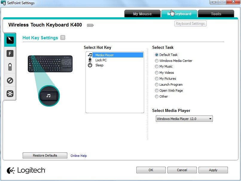 logitech setpoint windows 7