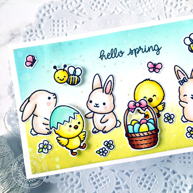 Sunny Studio Stamps: Chickie Baby Chubby Bunny Just Bee-cause Spring Showers Spring Card by Ashley Ebben