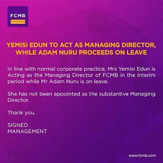 FCMB apoints Mrs Yemisi Edun, suspends Mr Adam Nuru