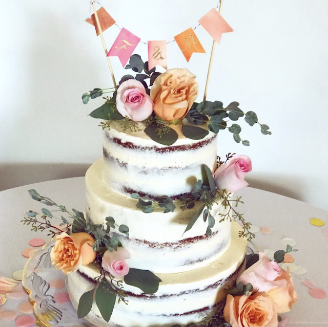 Wedding DIY /// Watercolor Bunting Cake Topper