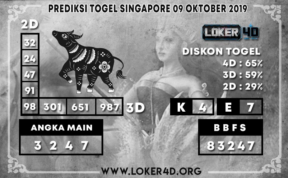 PREDIKSI TOGEL SINGAPORE LOKER4D 09 OKTOBER 2019