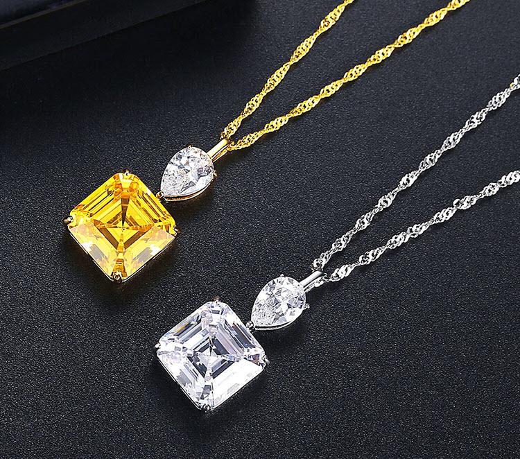 典雅富貴雙色方形鋯石 925純銀項鍊