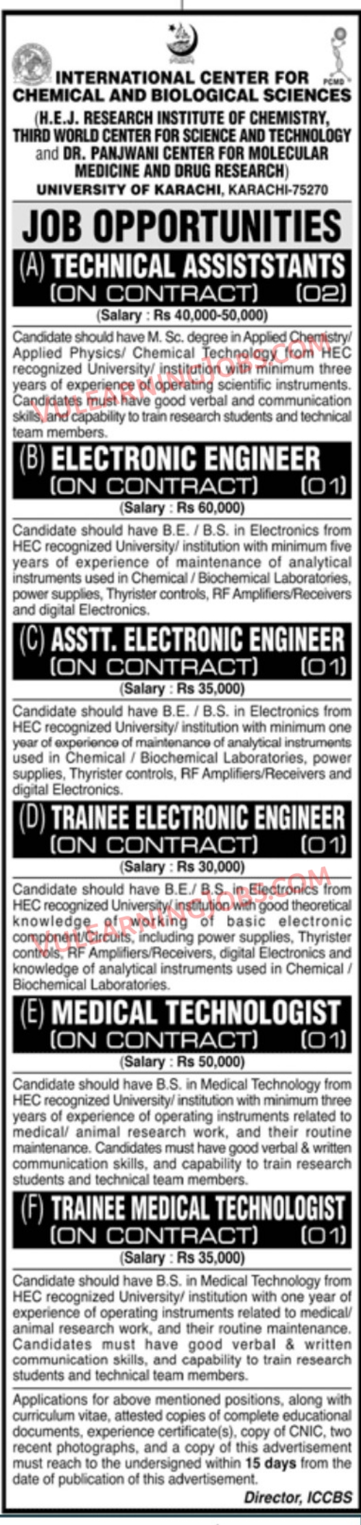 International Center For Chemical And Biological Sciences Jobs September 2021 For Technical Assistant, Electronic Engineer, Assistant Electronic Engineer, Trainee Electronic Engineer & Other Latest