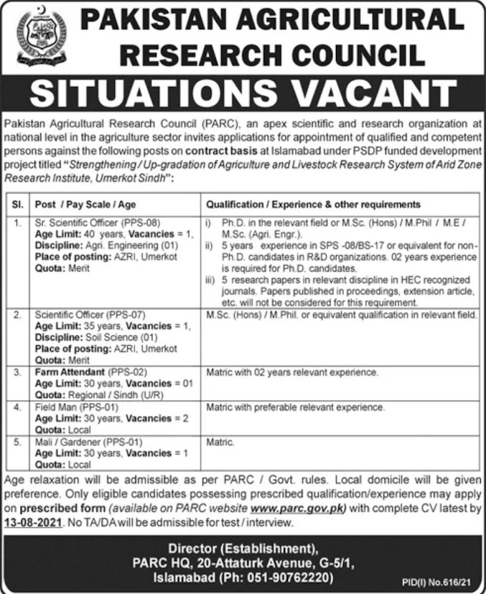 JOBS | Pakistan Agriculture Research Council