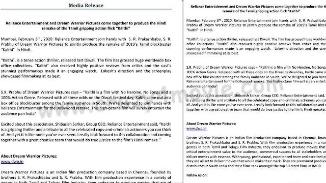 Kaithi Hindi Remake Press Release