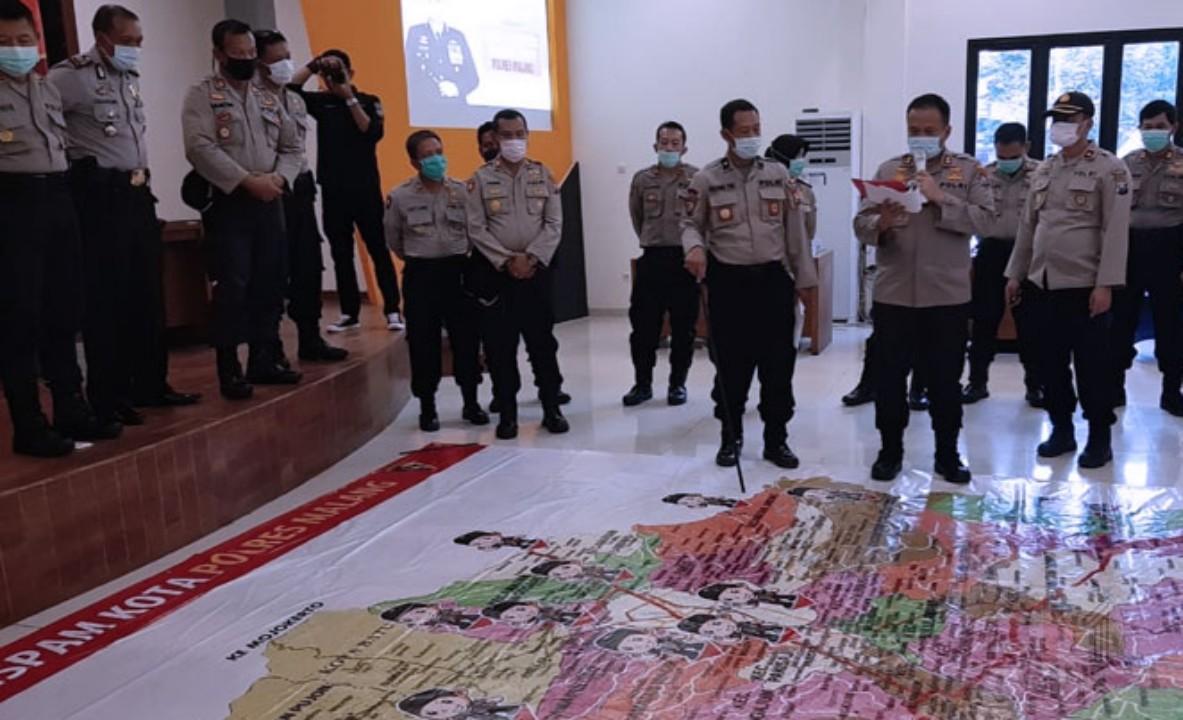 Polres Malang Lakukan Tactical Floor Game, Hadapi Kontijensi Covid-19