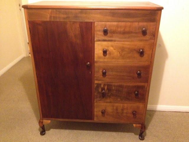 restored manrobe dresser with stain