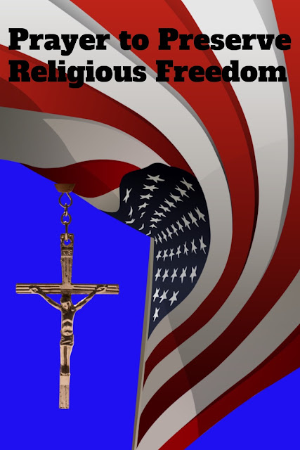 american flag with rosary crucifix in background