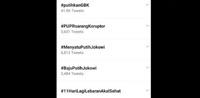 #PutihkanGBK Trending Topics Sehari Jelang Kampanye Akbar Prabowo-Sandi