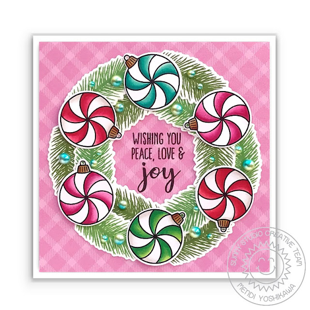Sunny Studio Peppermint Candy Ornament Christmas Wreath Card (using Deck The Halls, Classy Christmas & Holiday Style Stamps and All Is Bright Paper)