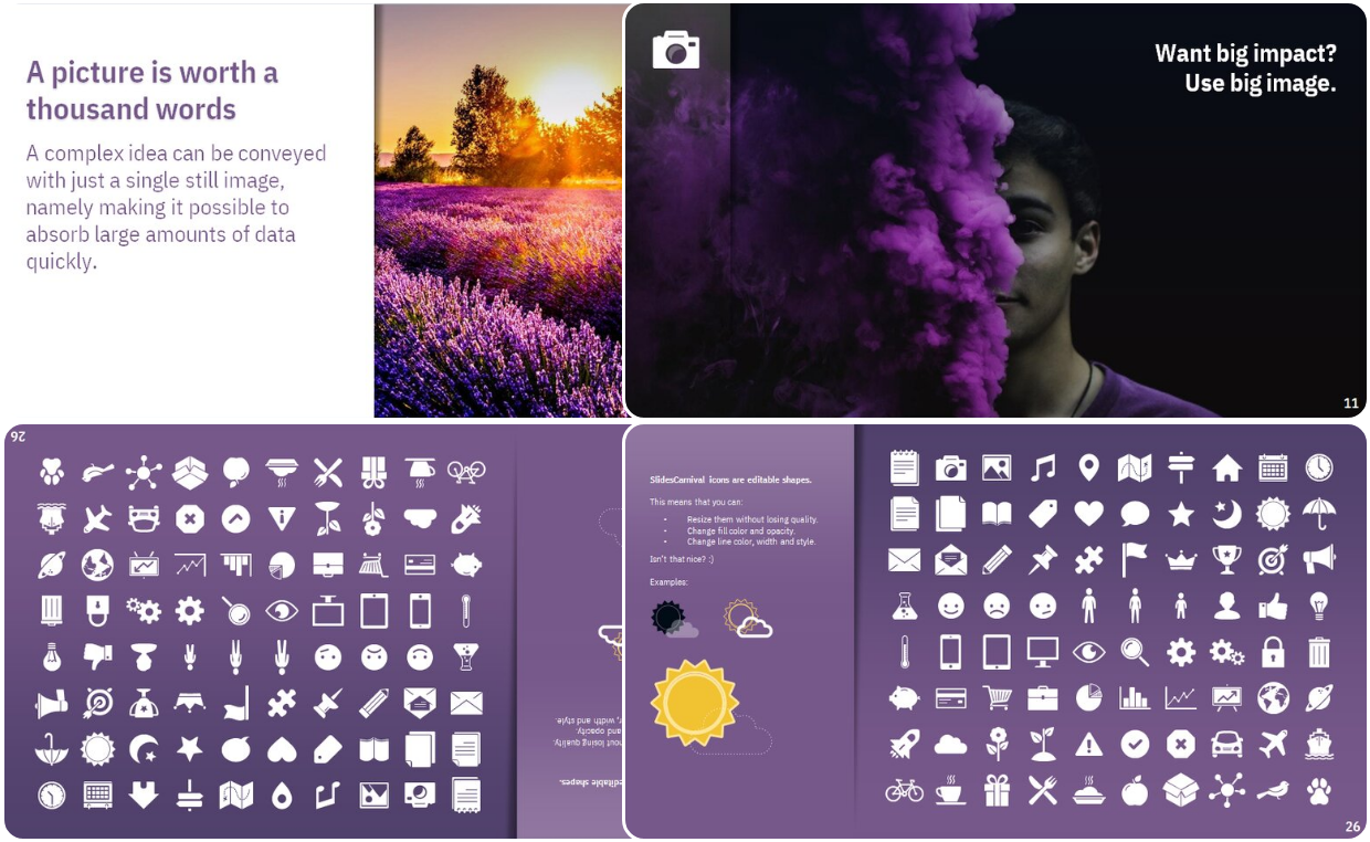 Purple Colored theme Presentation for both PowerPoint and Google slides
