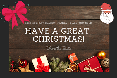 Have a great Christmas written on wooden background with gifts and Santa.
