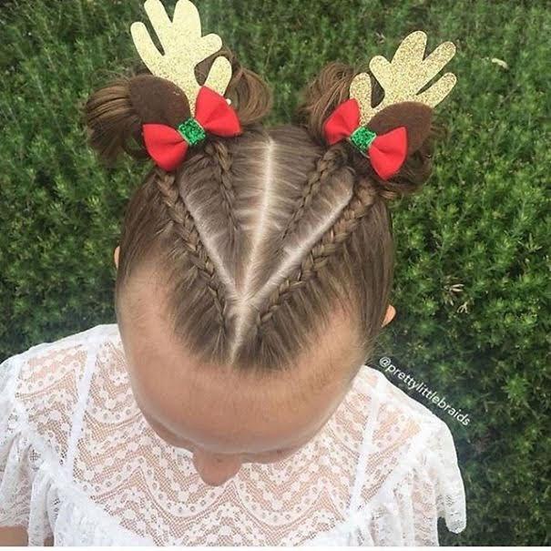 Christmas reindeer hairstyle
