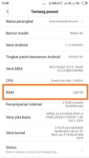 Cek ram Xiaomi