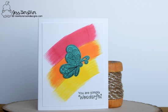 Butterfly Card by Jess Gerstner featuring Newton's Nook Designs Beautiful Wings #newtonsnook