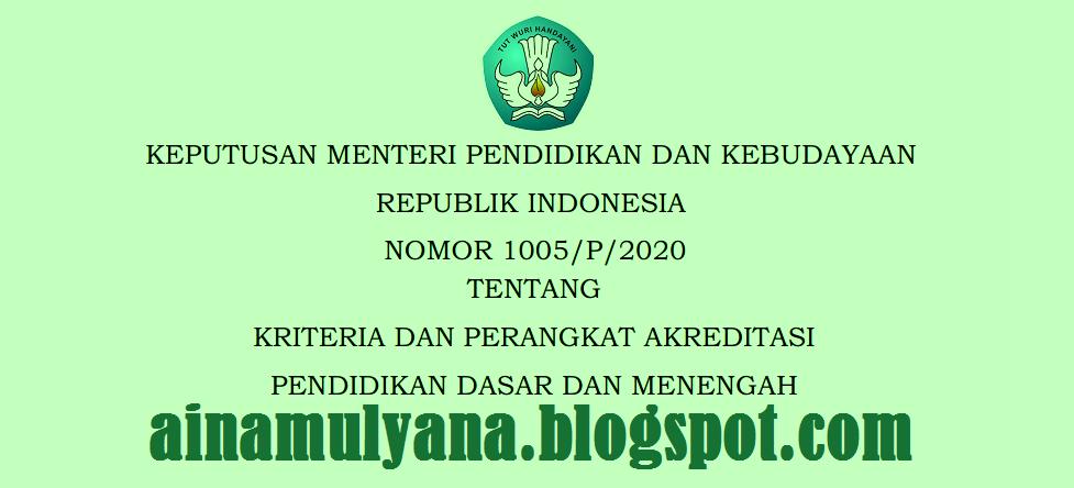 Keputusan Mendikbud atau Kepmendikbud Nomor  KEPMENDIKBUD NOMOR 1005/P/2020 TENTANG KRITERIA DAN PERANGKAT AKREDITASI (IASP 2020)