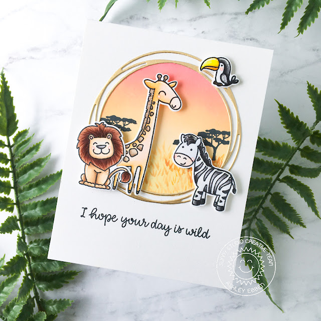 Sunny Studio Stamps: Savanna Safari Circle Snowflake Dies Birthday Card by Ashley Ebben