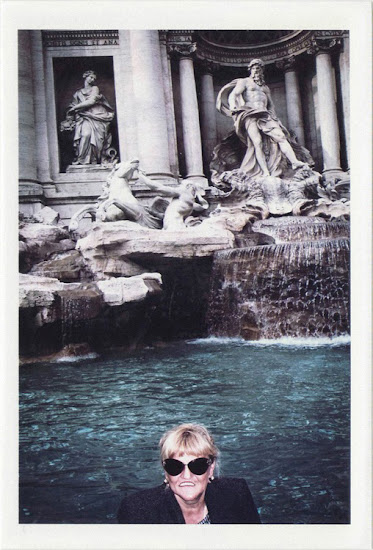 dirty photos - Once - street photo of lady with sunglasses and strange mouth in fontana di trevi ,roma