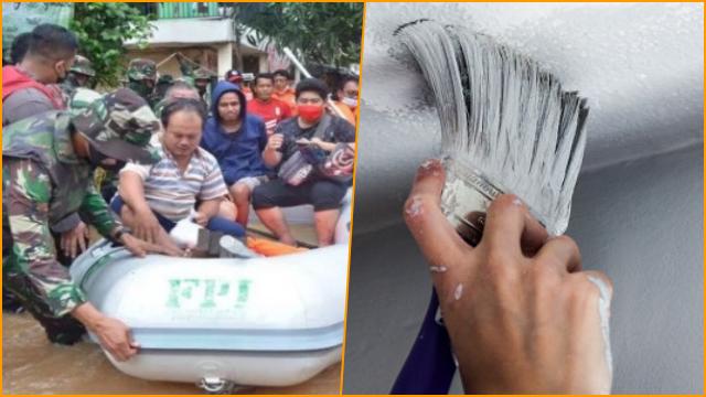 Tulisan FPI di Perahu Relawan Bantu Korban Banjir Dihapus Cat, Munarman: Masih Terlihat