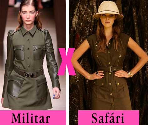Diferença looks militar e Safári
