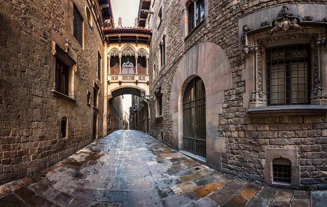 Bishop's Bridge in the Gothic Quarter barcelona spain