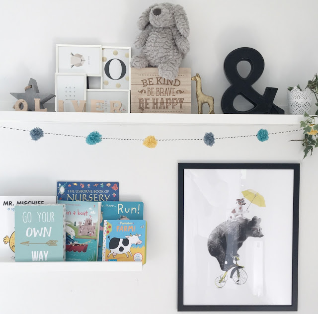 Nursery Inspiration POM POM garland tutorial Shelves in Nursery Scandinavian Neutral