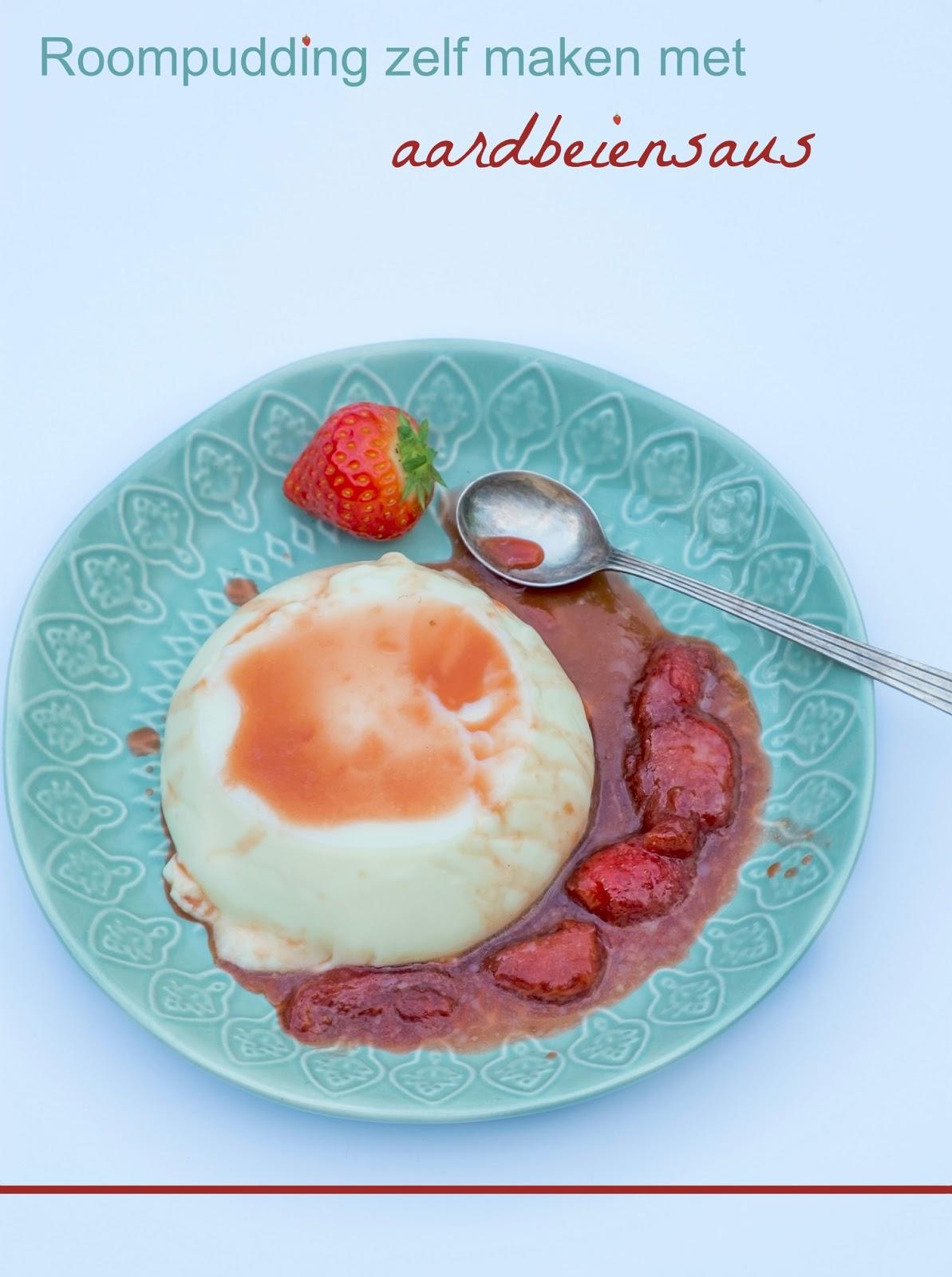 Roompudding zelf maken met aardbeiensaus