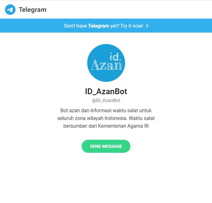 telegram bot pengingat azan