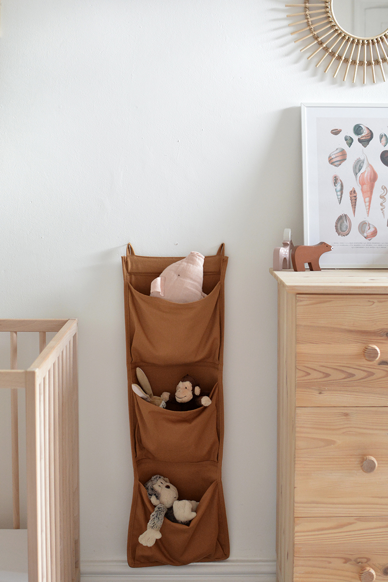 modern nursery fabric pouch wall storage