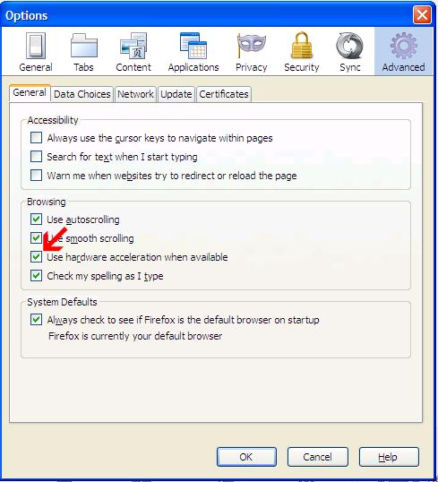 Tampilan Mozilla Firefox Blur dan Rusak, disabled hardware acceleration