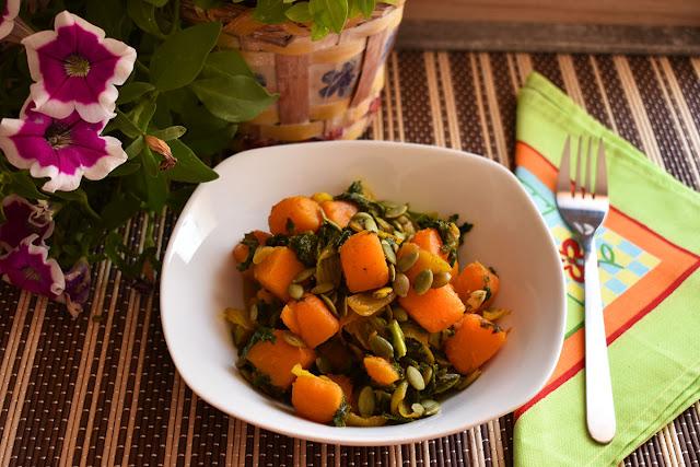 Receta de col kale y calabaza