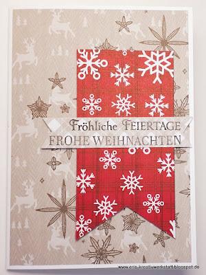 """Weihnachtskarte """"Funkelnde Sterne"""" mit """"Weihnachtlichen Prints"""" Stampin' Up! www.eris-kreativwerkstatt.blogspot.de"""