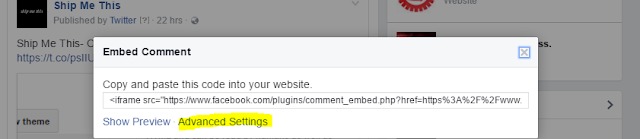 Facebook Embedded Comments Advanced option