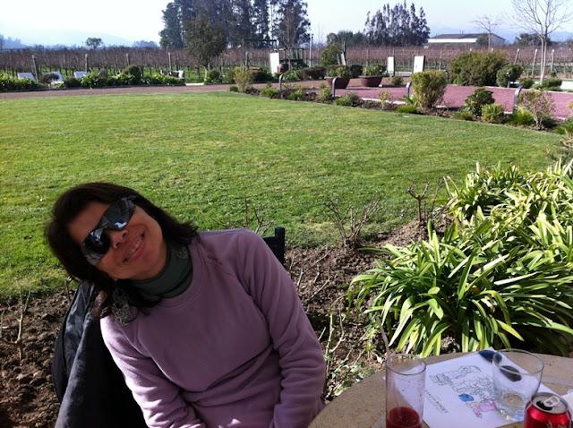 almoçando no restaurante Tanino, na vinícola Casas del Bosque