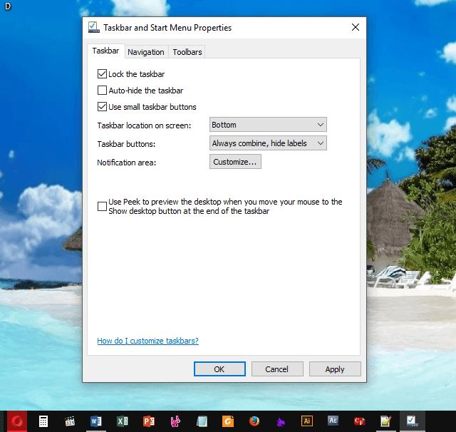 Thu nhỏ taskbar hoặc icon trên windows