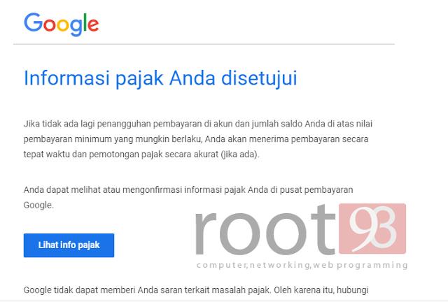 informasi pajak adsense youtube terbaru - root93