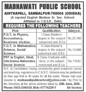 Sambalpur, Madnawati Public School TGT, PGT, PRT Teacher Faculty Recruitment2020