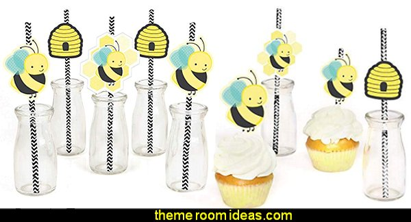 Honey Bee Paper Straw Decor - Baby Shower or Birthday Party Striped Decorative Straws  bee themed party - bumble bee decorations - Bumble Bee Party Supplies - bumble bee themed party - Pooh themed birthday party - spring themed party - bee themed party decorations - bee themed table decorations - winnie the pooh party decorations - Bumblebee Balloon -  bumble bee costumes