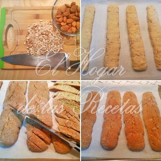 Cantucci de almendra y naranja: formado