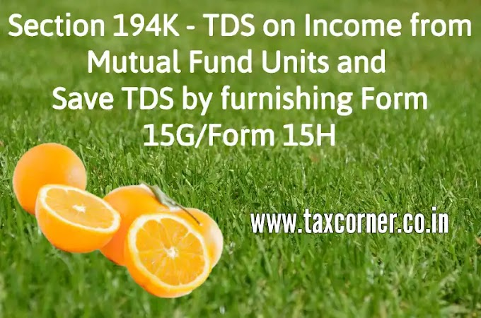 Section 194K - TDS on Income from Mutual Fund Units and furnishing Form 15G/Form 15H