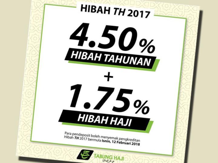 6.25 Peratus - Hibah atau Bonus Tabung Haji 2017