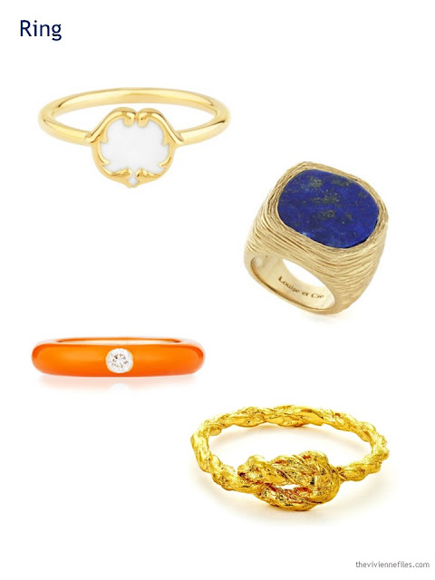 A Capsule Wardrobe in Beige, Bright Blue and Orange: Expanding Your Accessories - rings
