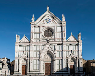 The magnificent Basilica di Santa Croce in Florence, where Rossini's remains were transferred from Paris