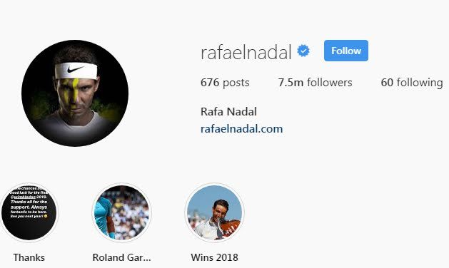 Rafael Nadal Instagram followers