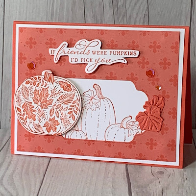 Cover of a handmade Fall-themed greeting card using Stampin' Up! Pretty Pumpkins Bundle comprised of the Pretty Pumpkins Stamp Set and the Detailed Pumpkins Dies