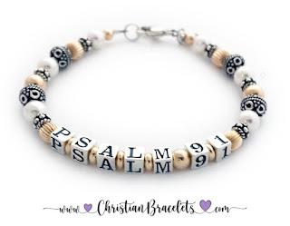 Gold Psalm Bracelet - Any Psalm - Psalm 91 Shown